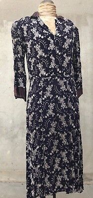 Vintage 1930s Navy Blue Silk All Over Floral Embroidered Dress Flowers Antique