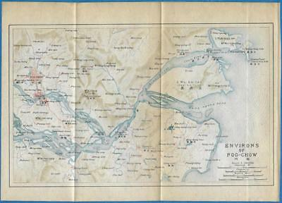 1915 IMPERIAL JAPANESE RAILWAY MAP of ENVIRONS of FOO-CHOW CHINA