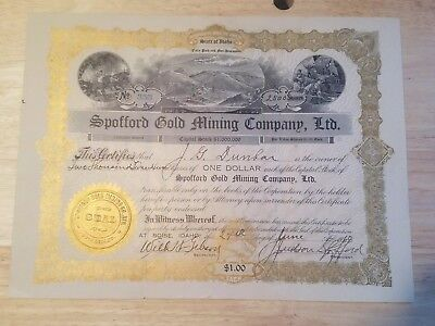 Vintage Spofford Gold Mining Co Share Certificate 1910