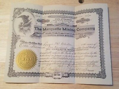 Vintage The Marquette Mining Co Share Certificate 1932
