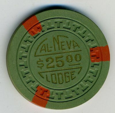1950s $25 chip from the Cal Neva Lodge, Lake Tahoe, T's mold, TCR $100-$124