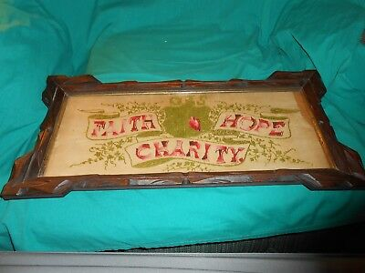 Antique Victorian Punch Paper Needlepoint Sampler Faith Hope Charity.
