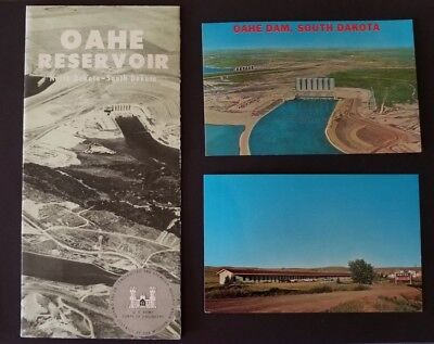Oahe Reservoir Brochure & Oahe Dam Oahe Motel Postcards Pierre, SD