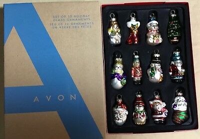 Avon Collectible  Set Of 12 Holiday Glass Ornaments 2008  New In Box