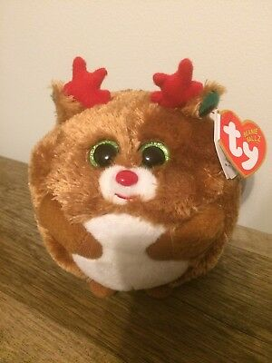 """Ty Beanie Baby Ballz HOOFER the 5"""" Reindeer MINT with MINT TAGS RETIRED Boos"""