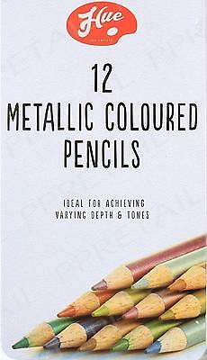 12 Pieces Artists Metallic Colour Pencils With Tin Box