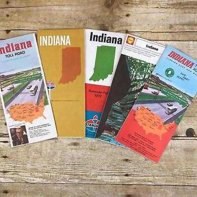 Lot of 5 Vintage Maps Indiana State IN Travel Gasoline Oil Gulf Shell Toll Road