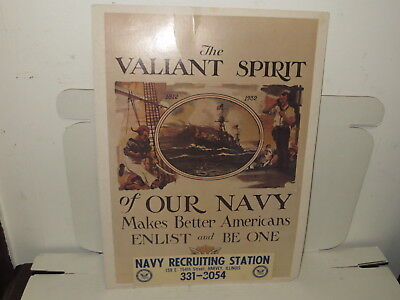 #  Vintage The Valiant Spirit Of Our Navy Recruiting Poster 1975 #