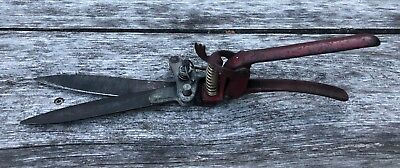 Antique Manual Scissor Bladed Hedge Clipper - Vintage Hand Shear Gardening Tool