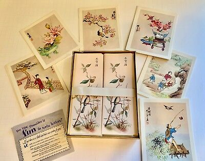 LING-FU YANG Vintage Notecards & EATON'S MING Notes Stationary in Orig. Box