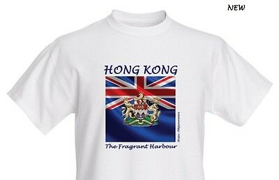 Sz M British Hong Kong Colonial Flag Coat of Arms Graphic Cotton Tee,