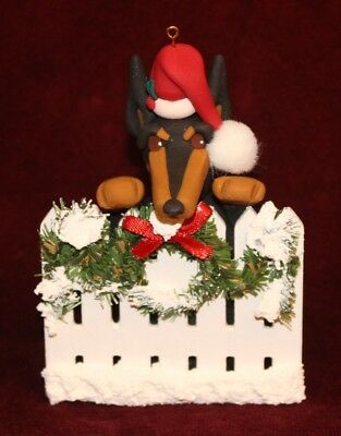 Doberman Christmas Fence Cecile Baird Collectible~Proceeds for Red Leash Rescue