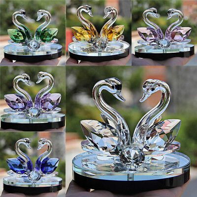 Crystal Swan Wedding Decor Paperweight Figurine Gift Crafts Home Decor 6 Color J