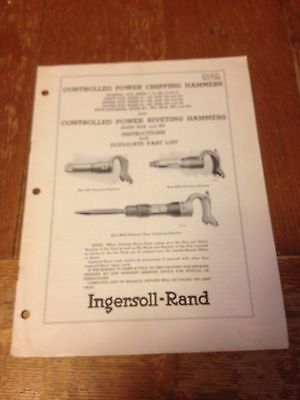 Ingersoll-Rand March 1955 Duplicate parts list and Instructions Chipping Hammers