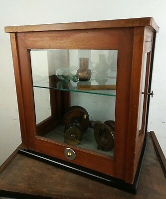 Vintage mahogany wood glass display cabinet counter top old