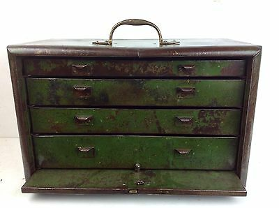 Vintage Steel Engineer Bank Of Drawers Cabinet Old Brass Handle Draws Industrial