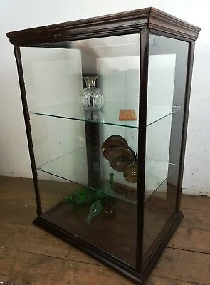 Antique counter top shop glass display cabinet collectors museum retail old