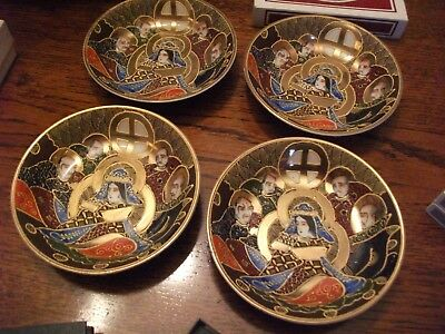 4 Antique/Vintage 20th centuary Satsuma ware gilded immortals ROUND bowls