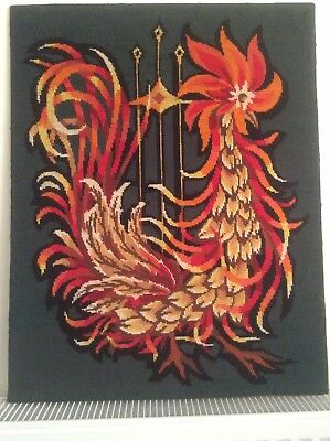 French Vintage Tapestry, 1960's Modernist, Chicken.
