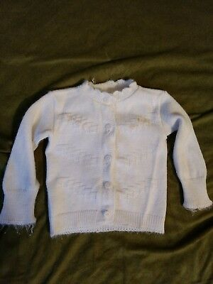 Vintage 1950s Baby Girls White/Ivory Knit Button Down Sweater - 3-6 mons