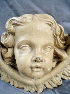 Large And Rare 18Th Century Carved Wood Winged Cherub