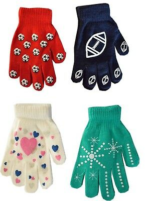 2 Pairs Boys Girls Kids Childrens Grip Gripper Warm Thermal Stretch Magic Gloves