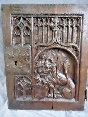 17Th Century Oak  Carved Seated Lion Gothic Tracery Carved  Panel