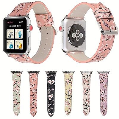 Floral Leather Strap Band For Apple Watch Series 1 2 3 4 38mm 40mm 42mm 44mm