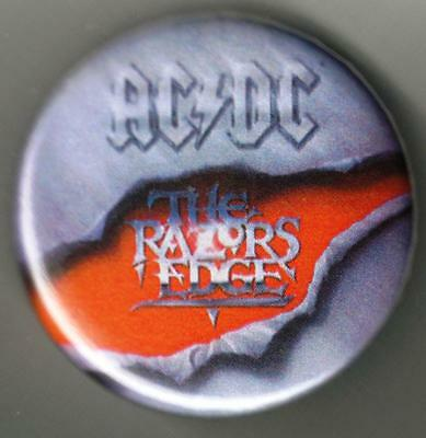 "AC DC The Rzors Edge Logo 1 1/2"" ACROSS METAL BUTTON NEW"