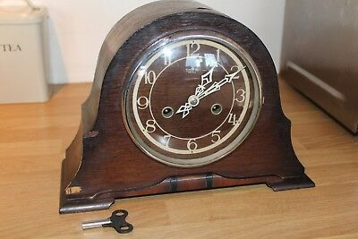 """Working Smiths 1950S Chiming Hand Wind Wooden Mantel Clock, 12"""" Wide X 9"""" Tall"""