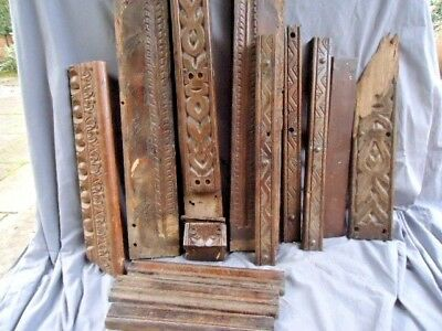 Assortment 12 , Of 17Th Century Oak  Carved Rails, Two Inlaid Rails