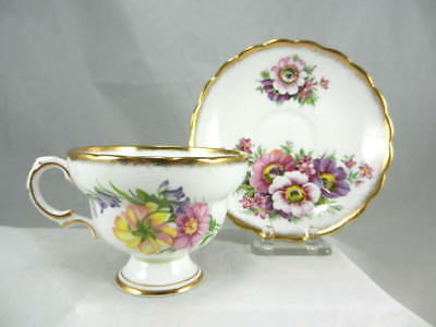 Fabulous Vintage ROSINA England ANEMONE GOLD TRIM Footed  CUP & SAUCER # B5086