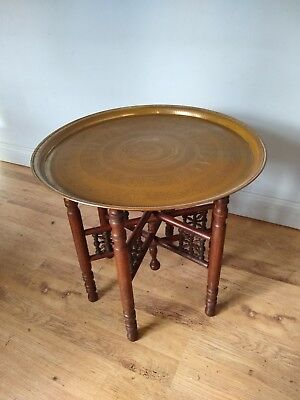 Lovely Large Antique Brass Tray Topped Table