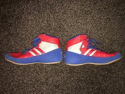 Adidas Havoc Kids Wrestling Shoes Boots Childrens Blue White Red Size UK 4