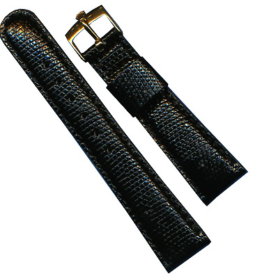 Rolex Gold Plate Buckle New 20mm Black Genuine Lizard Strap Band Leather Lined
