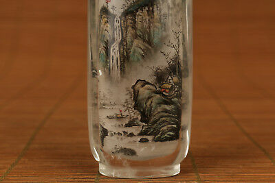 Antique chinese old Natural Crystal hand painting landscape statue snuff bottle