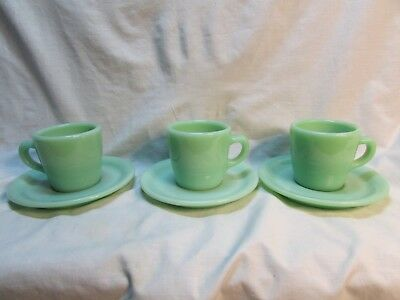 Lot Of 3 Fire King Jadite Restaurant Ware Straight Cups & Saucers Free Ship