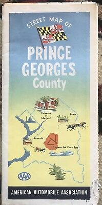 Vintage 1963 Street Map Of Prince Georges County Maryland Aaa Andrews Air Force