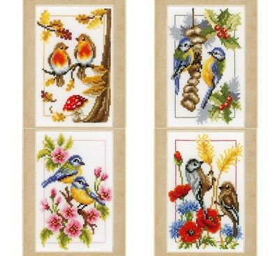 Vervaco -  Miniatures Four Seasons Birds - Cross Stitch Kit (4) - PN-0147602