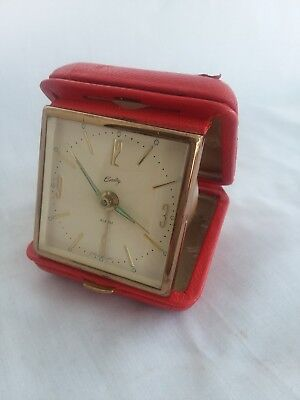 Vintage Bradley Traveling Red Fold Up Wind Up Travel Alarm Clock made in Germany