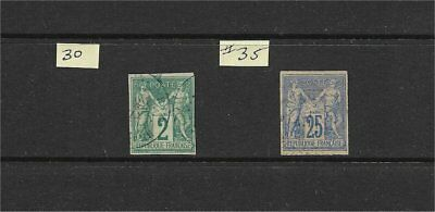 Classic French Colonies Imperf #30 & #35 Used