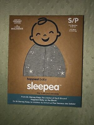 Happiest BabySleepea 5 Second Swaddle Gray Infant Newborn Small New In Package