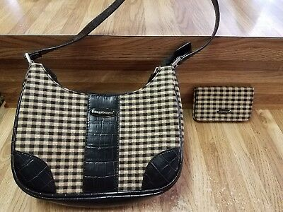Longaberger Plaid Purse And Credit Card Holder
