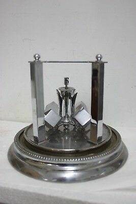 Art Deco Chrome base,pillars and DICE PENDULUM 400.day clock Parts/Spares