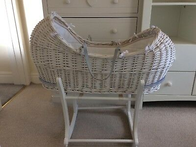 Mothercare 'The Snug' wicker Moses basket, and stand,