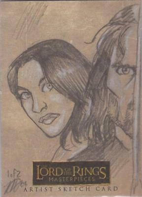 Lord of the Rings Masterpieces -  M Goodmanson Arwen & Aragorn Panel Sketch Card