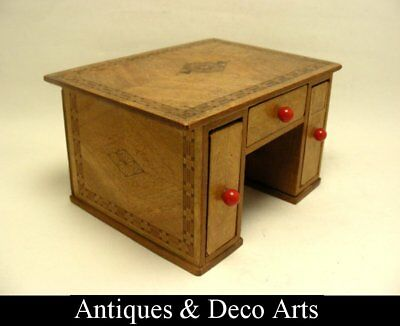 Parquetry Veneered Wooden Desk Shaped Box with 3 Drawers (for Card Decks)