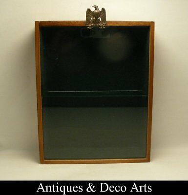 Wood & Glass Wall Mount Display Cabinet with Eagle Handle