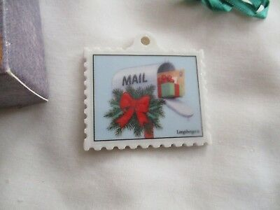 Longaberger 1999 Reversible Postage Stamp Shape, Mail Box Picture, Basket Tie On