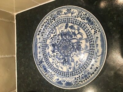 Chinese Plate c1780 Export Blue And White Porcelain Kangxi Period